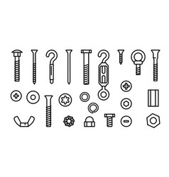 Simple set construction hardware line icons vector