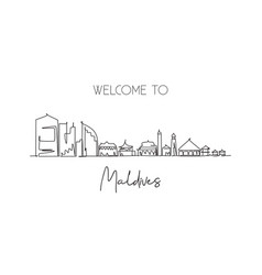 Single continuous line drawing male skyline vector