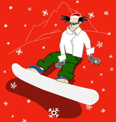 snowboarder on a hill is waiting for the christmas vector image