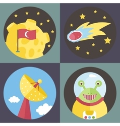 Space Cartoon Icons Collection vector