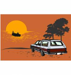 stationwagon car retro illustartion vector image