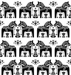Swedish Dala or Daleclarian horse seamless pattern vector image