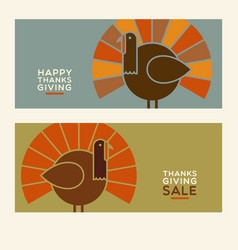 Thanksgiving turkey banner designs vector