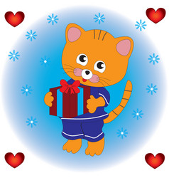 the cat keeps a gift in his paws vector image