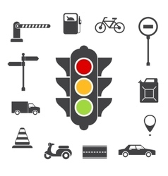 Traffic icons set vector