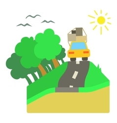Trip by car on road concept flat style vector image