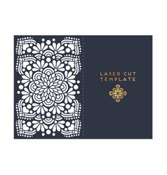 Wedding card laser cut template vintage vector