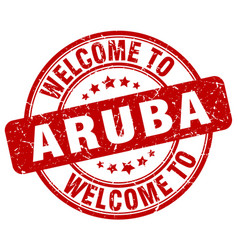 Welcome to aruba red round vintage stamp vector