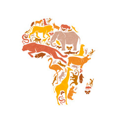 Wild animal icon africa map shape concept isolated vector