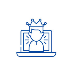 winner in a computer game line icon concept vector image