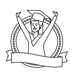 Woman student graduated celebrating in emblem vector