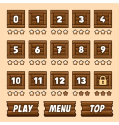 wooden box level selection panel with buttons vector image