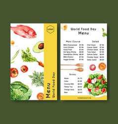 World food day menu design with carrot avocado vector