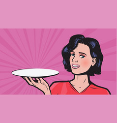 young woman with empty tray in hand business vector image