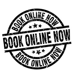 book online now round grunge black stamp vector image vector image