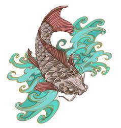 hand drawn koi fish with wave japanese carp vector image