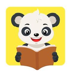 Little Panda Bear Reading A Brown Book vector image vector image