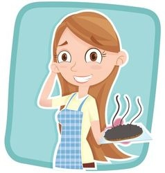 Woman showing burnt cake vector