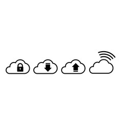 cloud icon set in black in flat style vector image