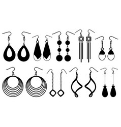 set of different earrings vector image vector image