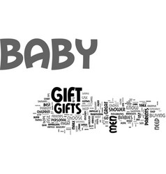 baby gifts a guide for men text word cloud concept vector image