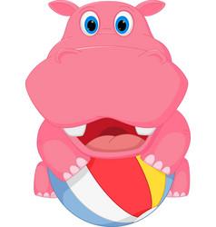 cute hippo cartoon playing ball vector image vector image