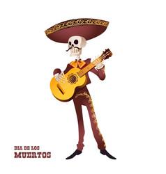 dia de muertos mariachi musician skeleton guitar vector image