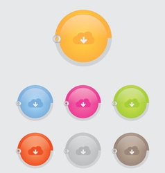 round cloud download button bar vector image vector image