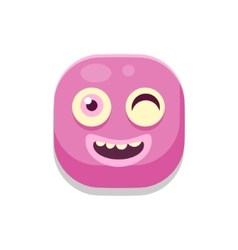 Winking Monster Square Icon vector image vector image
