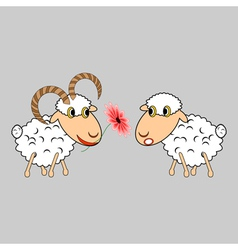 A ram presenting a sheep a flower vector image vector image