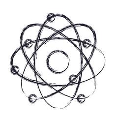 atom icon in monochrome blurred silhouette vector image