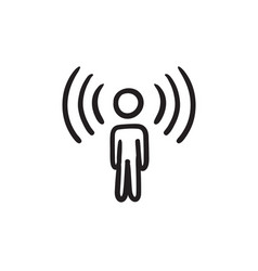 Man with soundwaves sketch icon vector