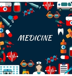 Medicine poster with flat icons vector image