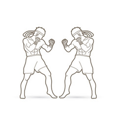 Muay thai thai boxing standing ready to fight vector
