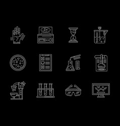 Research laboratory flat white line icons vector