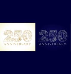 250 anniversary vintage silver gold vector