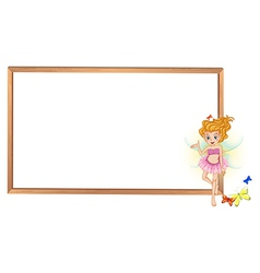 A fairy beside the giant whiteboard vector image