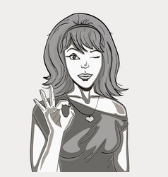 a retro girl shows a figure with her fingers vector image