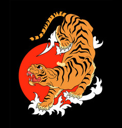 Abstract tiger climbing down on black background vector