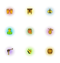 Apiary icons set pop-art style vector image