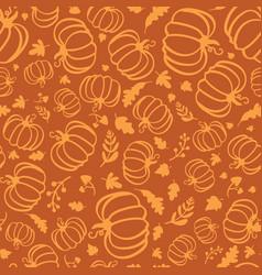 autumn seamless pattern silhouette pumpkins vector image