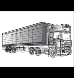 black and white truck painted lines vector image