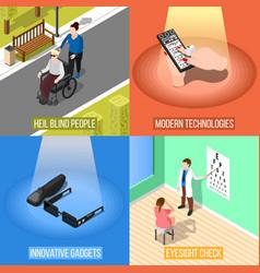 Blind people design concept vector