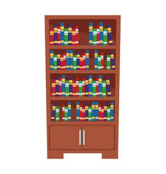 bookshelf full books icon cartoon vector image