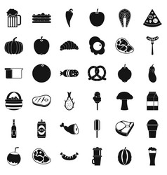breakfast icons set simle style vector image