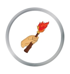 Burning torch in the hand icon in cartoon style vector image