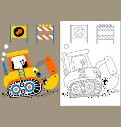 Cartoon digger with construction signs vector
