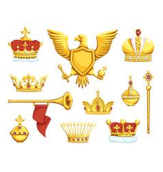 Cartoon royal symbols imperial crowns scepter vector