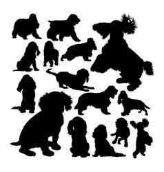 cocker spaniel dog animal silhouettes vector image
