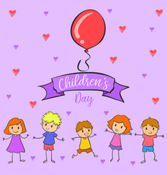 collection colorful childrens day hand draw vector image